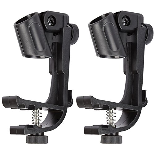 Blueseason Adjustable Drum Microphone Clips Rim Snare Mount Clamp Holder Gear Studio 2Pcs