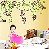 Hip-hop Cartoon Monkey Tree Removable Wall Decal Home Sticker House Decoration WallPaper Living Dinning Room Bedroom Kitchen Art Picture DIY Murals Girls Boys kids Nursery Baby Playroom Decor