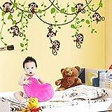 Hip-hop Cartoon Monkey Tree Removable Wall Decal Home Sticker House Decoration WallPaper Living Dinning Room Bedroom Kitchen Art Picture DIY Murals Girls Boys kids Nursery Baby Playroom Decor