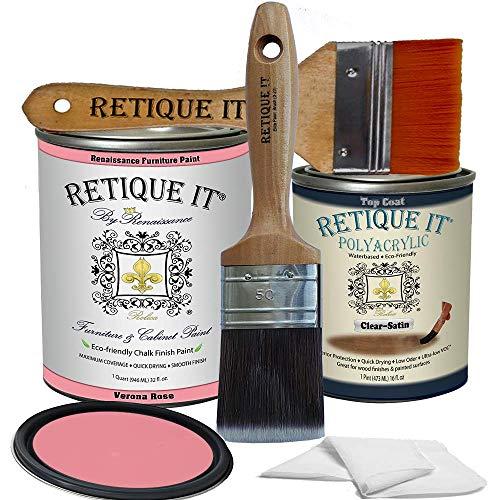 Retique It Chalk Furniture Paint by Renaissance DIY, Poly Kit, 53 Verona Rose, 32 Ounces
