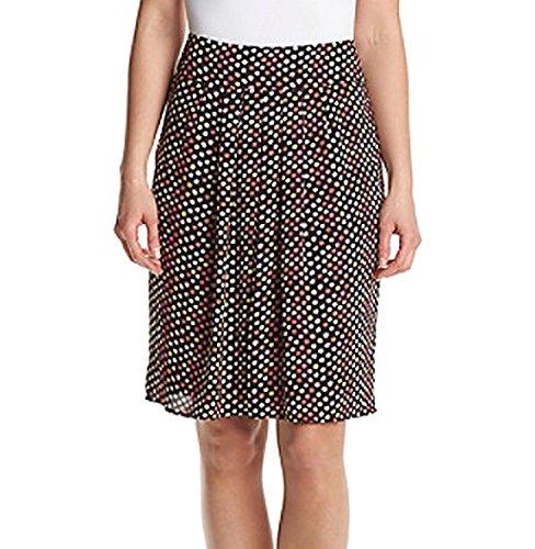 Kasper Dot-Print Women's A-Line Pleated Back-Zip Skirt Black 8 - A-line Back Zip Skirt