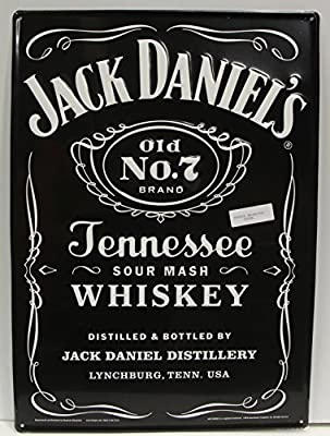 Jack Danial's Whiskey Bottle label Metal Sign embossed large 19 x 26""