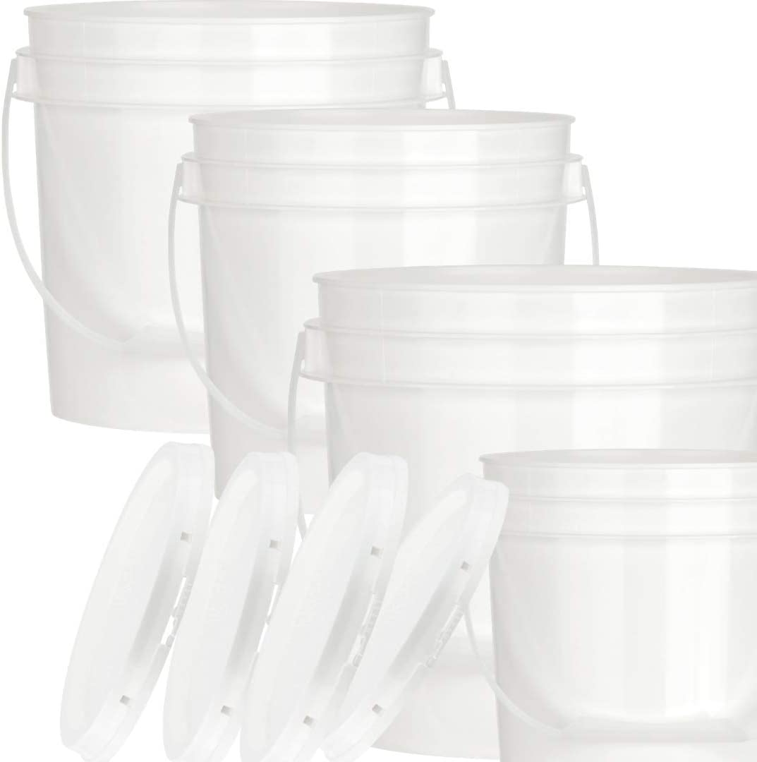 House Naturals 2 Gallon White Food Grade BPA Gree Bucket with Lid - Pack of 4 - Made in USA