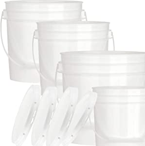 House Naturals 1 Gal White Bucket with lid - Food Grade Plastic Handles - Pack of 8 Buckets - Made in USA