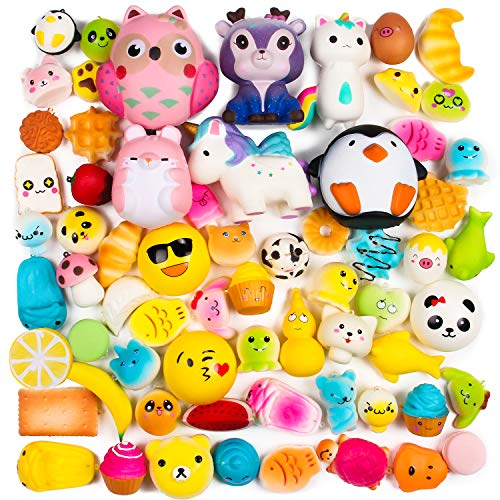 Piece 15 Packs - BeYumi Random 16 PCS Squishy Toys(Including 15 PCS Mini + 1 PC Free Big Squishy),Kawaii Soft Cream Scented Slow Rising Food and Animals for Children Toy