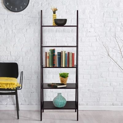 Andover Mills Channing 72quot Solid Wood Leaning Bookcase By Espresso