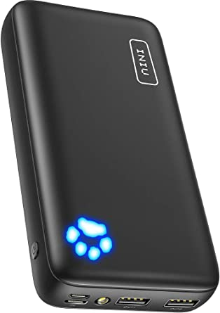 INIU Power Bank, Ultra-high 20000mAh Capacity Portable Charger with Type C & Micro USB Inputs, Dual 3A High-speed Outputs Battery Pack, Compatible ...