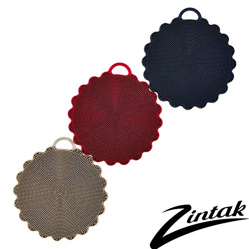 Silicone Sponge | Scrubber | Loofah | Easy to Clean | Sponge Replacement Tool | Multipurpose for Kitchen Bathroom Cleaning Brush | Food-Grade Antibacterial BPA Free | 3 Pack Rustic Colors by Zintak ()