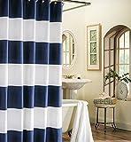 Wide Stripes Fabric Shower Curtain Bathr