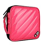 BUBM Padded 32 Capacity CD DVD Storage Wallet, Carrying Case, Rose Red