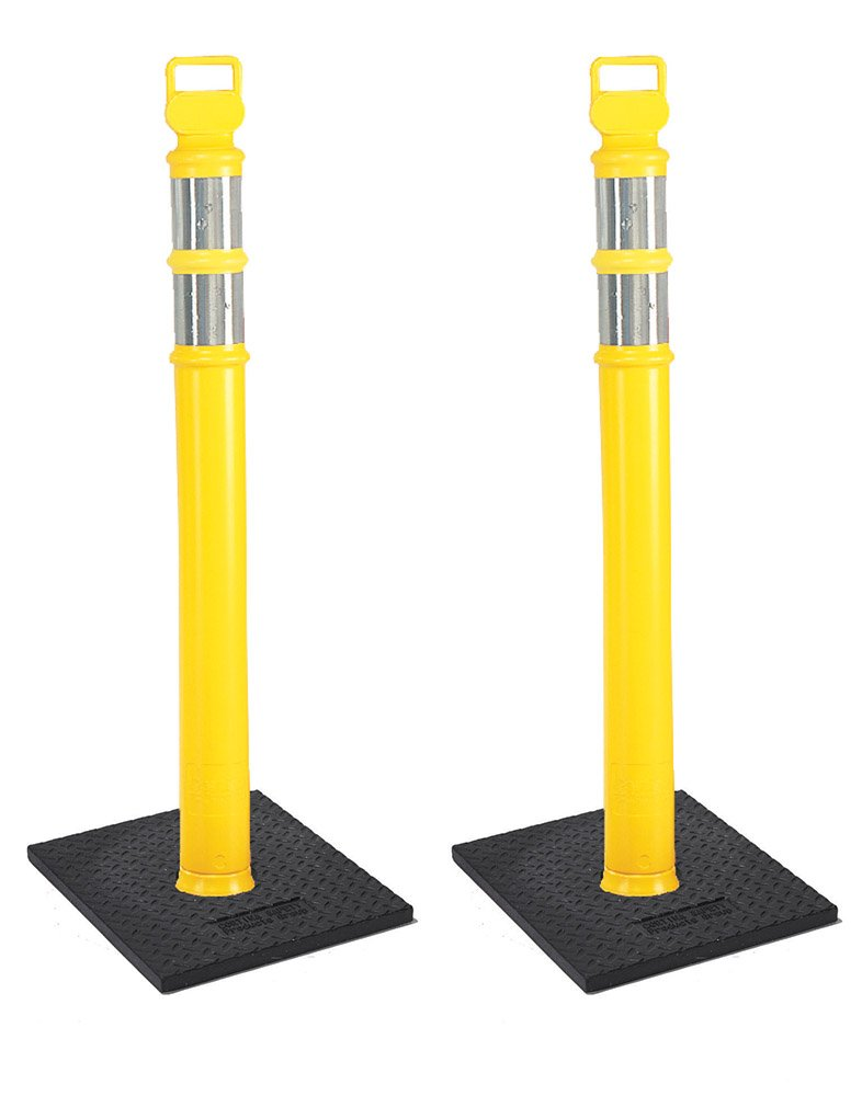 Cortina EZ Grab Delineator 45'' Post, 3'' Hip Collars with 10 lb Base, 03-747YRBC-2, Yellow, 2 Pack by Cortina