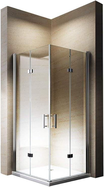 Cabina de ducha esquina. Puerta plegable Nano Cristal 8 mm EX213 – 80 x 80 x 195 cm: Amazon.es: Hogar