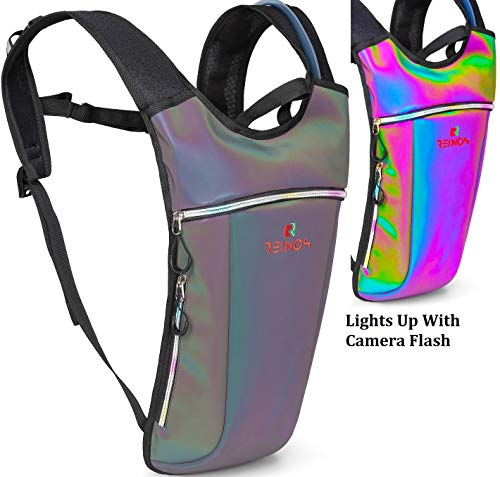 REINOS Hydration Backpack – Light Water Pack – 2L Water Bladder Included for Running, Hiking, Biking, Festivals, Raves (Tin Grey)