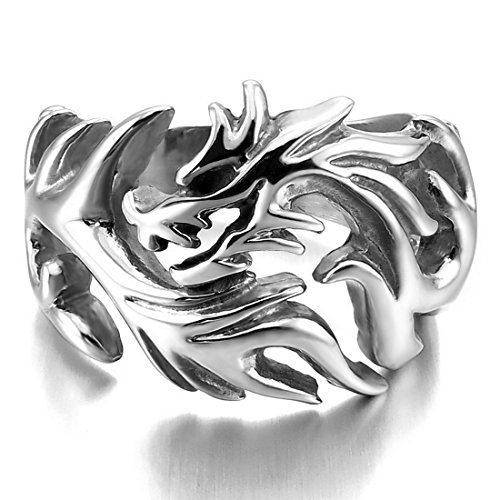 INBLUE Stainless Silver Dragon Tribal