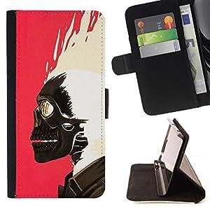 Momo Phone Case / Flip Funda de Cuero Case Cover - Cráneo rosado de la pintura blanca del motorista Rosa - Samsung Galaxy S6 Edge Plus / S6 Edge+ G928