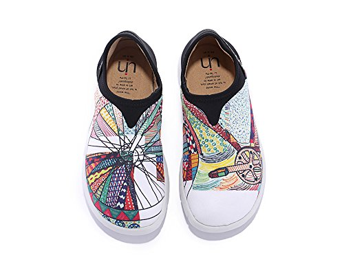UIN Women's Wheel Canvas Printed Slip On Shoe Multicolore (9) by UIN