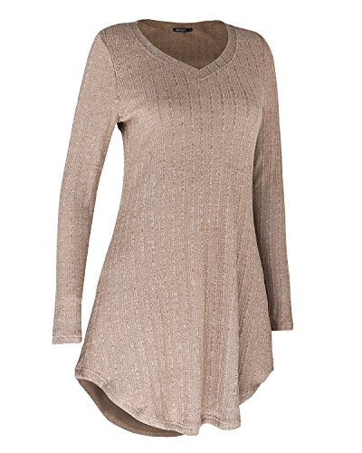 OUGES Shirts Tunic V Tops Neck Sweater Casual Women's Sleeve Khaki Long gPwqrgS
