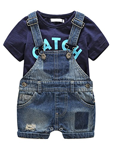 Cute Baby Boys Clothes Toddler Jeans Romper Set wit h Blue Letters Printed Short Sleeve T-Shirt Blue 90