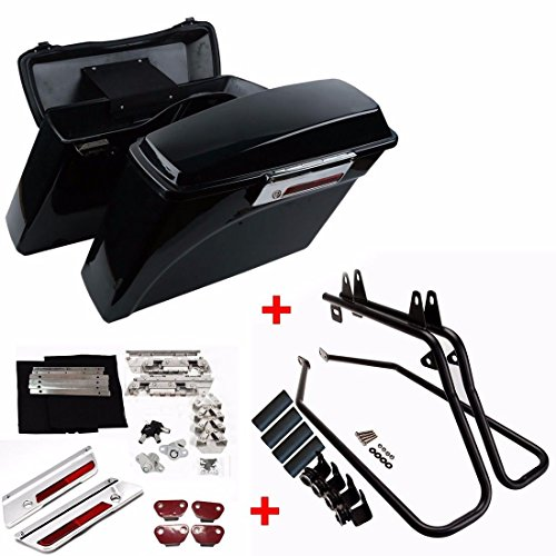 - ASD Vivid Black Hard Regular Size Saddlebags +Conversion Support Bracket +Latch Lock Key Set For 1997-UP Harley Davidson Softail Models Fat Boy