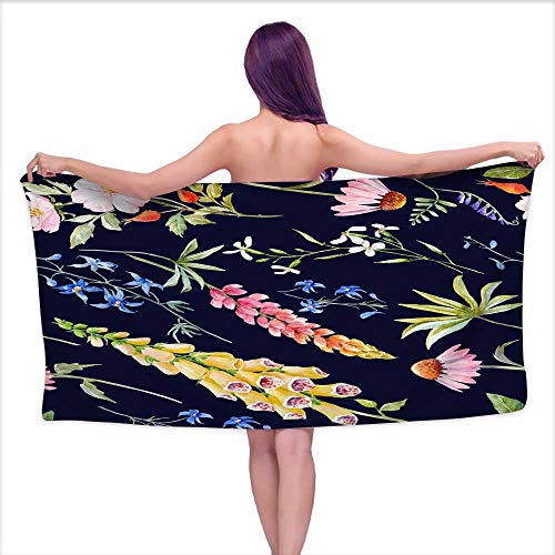Denruny Bath Towel bar Watercolor Floral Summer pattern6,W10 xL39 for Kids Mickey Mouse ()