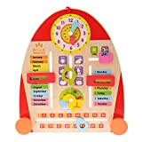 Fityle 1pc Multifunctional Cartoon Calendar Board Teaching Clock for Kids Wooden Toys