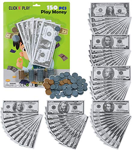 Click N' Play Pretend Play Money for Kids Realistic Bills & Coins Counting Math Currency Set of 150Piece