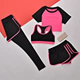 WENXINJIA Yoga, clothes, spring and summer short-sleeve, quick-drying, fitness, clothing, a family of four was thin, fitness, jogging track suit blouses room. , A family of four suits Workou-01