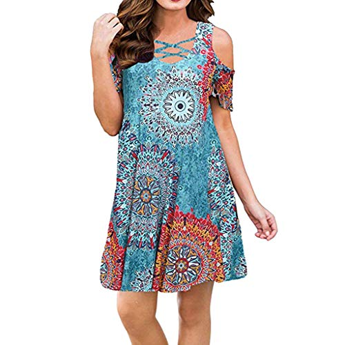 ASOBIMONO Women's T-Shirt Dresses Floral Cold Shoulder Short Sleeve Tunic Tops Strappy V Neck Loose Blouse Mini Dress Sky Blue