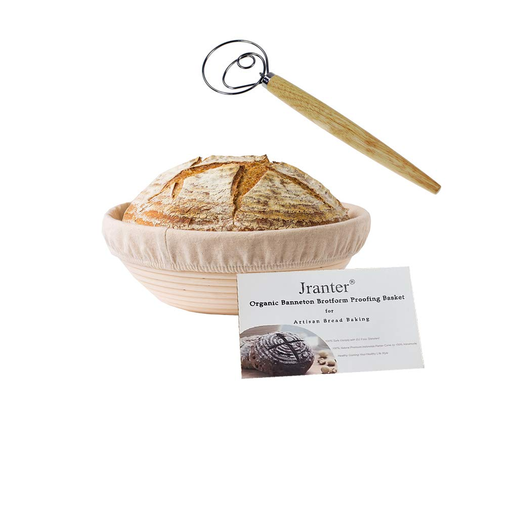 1 pc Jranter Banneton Bread Proofing Basket-9 inch Round Fermentation Sourdough Rattan Bowl with Cloth Liner&Dough Whisk for Home Baking