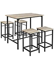 SoBuy OGT11-N,Bar Set-1 Bar Table and 4 Stools,Home Kitchen Breakfast Table,Kitchen Counter with Bar Chairs