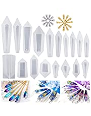 LET'S RESIN Resin Molds 18Pcs Pendulum Crystal Molds for Resin,Silicone Molds for Resin Casting,Multi-Facet Gemstone Resin Jewelry Molds for Quartz Crystals Pendants, Healing Crystal Necklace