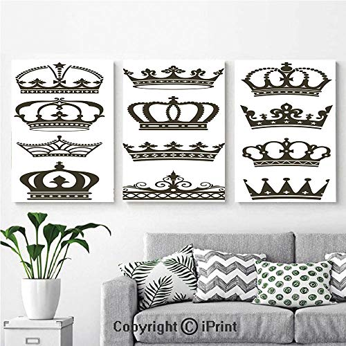 Canvas Prints Modern Art Framed Wall Mural Symbol of Royalty Crowns Tiaras for Reign Noble Queen Prince Princess Cartoon Image Decorative for Home Decor 3 Panels,Wall Decorations for Living Room Bed