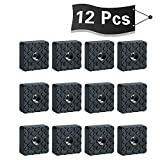 Alise 12 Pcs 1-1/5 Inch Square Rubber Feet Non-Slip Rubber Furniture Floor Pads Chair Leg Feet Wood Floor Protectors,Black