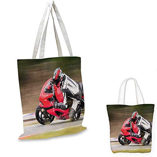 Teen Room canvas shoulder bag Racing Motorcycle Athlete in Speed Turning on the Road Activity Colorful Picture canvas lunch bag Multicolor. ()