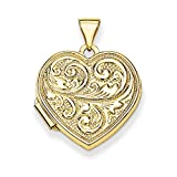 Roy Rose Jewelry 14K Yellow Gold Scrolled Love you always Heart Locket 24x19mm