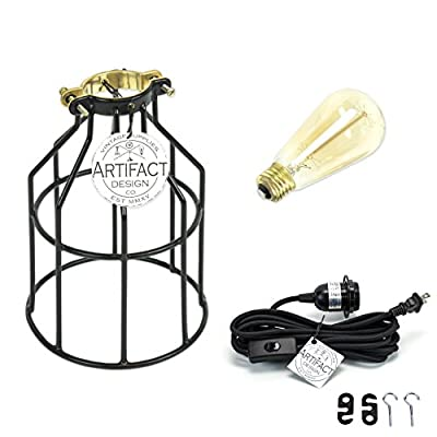 Pendant Lighting by Rustic State - With Industrial Style Cage for Authentic Vintage Lights Includes 15 feet Plug-in Fabric Cord with Toggle Switch and One Edison Bulb (Black with Edison Bulb)