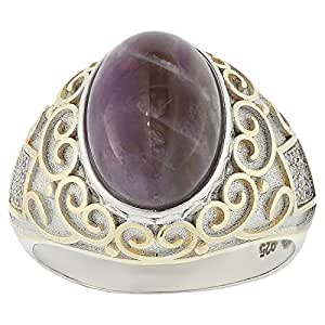 Aurora Men's Silver Aqeeq Tiger Eye Ring