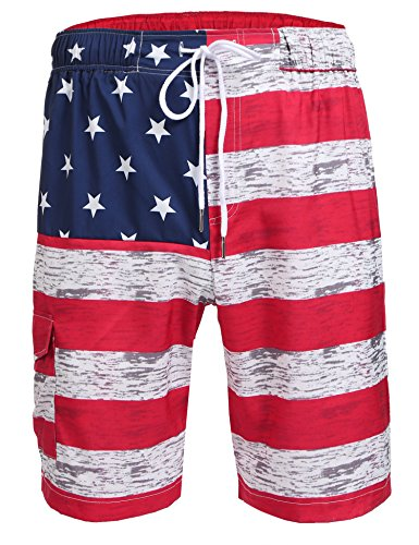 Hasuit Men's Summer Casual Swimming Shorts Beach Board Shorts With Pocket (XXL, Red)