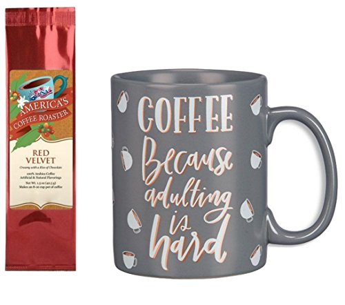 Coffee Because Adulting is Hard Mug with Red Velvet Coffee Gift Set Bundle (2 Items)