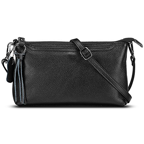 Leather Small Evening Bag (Lecxci Womens Small Leather Crossbody Bag, Zipper Clutch Phone Wallet Purse with [3 Card Slots] for Women (Black))
