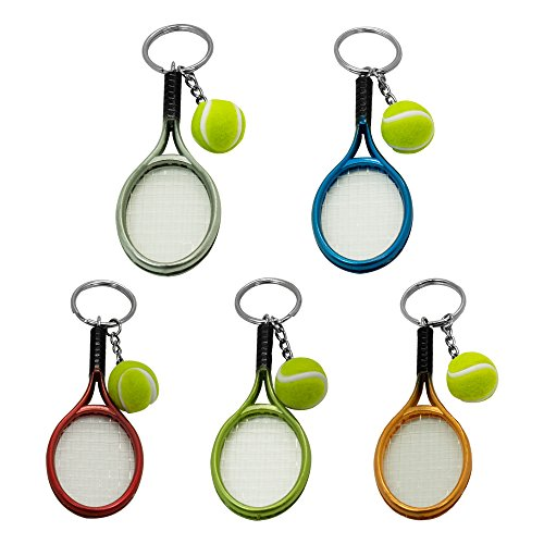 SPHTOEO Creative Alloy Sport Style Tennis Ball Keychain Tennis Racket Key Chain Key Ring 5 Color Set