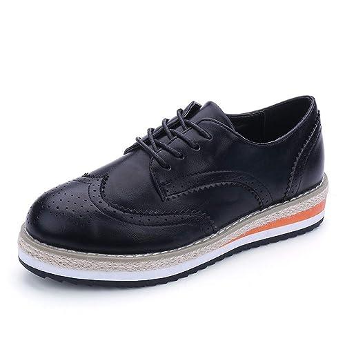 Zapatos Planos De Mujer Zapatos De Plataforma Mujer OtoñO Punta Redonda Charol Oxford Cordones Derby Brogue Calzado: Amazon.es: Zapatos y complementos
