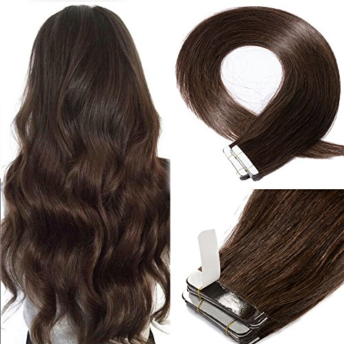 18 Inch 40pcs 100g Remy Tape in Hair Extensions Human Hair 02 Long Deep Color Straight Hair Seamless Skin Weft Invisible Double Sided Tape Dark Brown