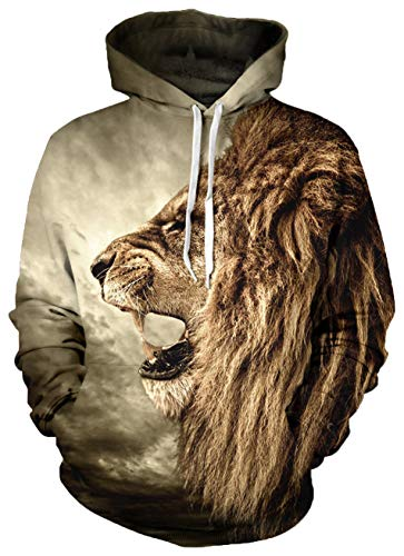 Leapparel 3D Cool Hooded Pullover Sweatshirt Top for Men and Women with Warm Hoody Funny Graphic Printed Jacket Brown Lion -