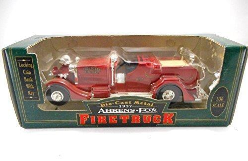 Ertl 1937 Ahrens Fox Firetruck Coin Bank Diecast Metal 1:30 Collectible Model