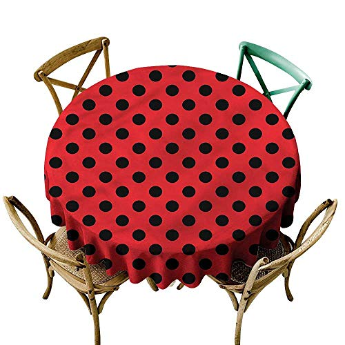 LsWOW 65 Inch Printing Round Tablecloth Red and Black Pop Art Polka Dots Great for Wedding & -