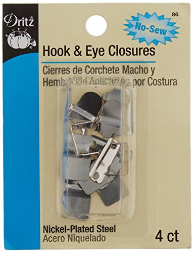 Dritz 86 No-Sew Hook & Eye 1/2 Inch 4/Pkg-Nickel