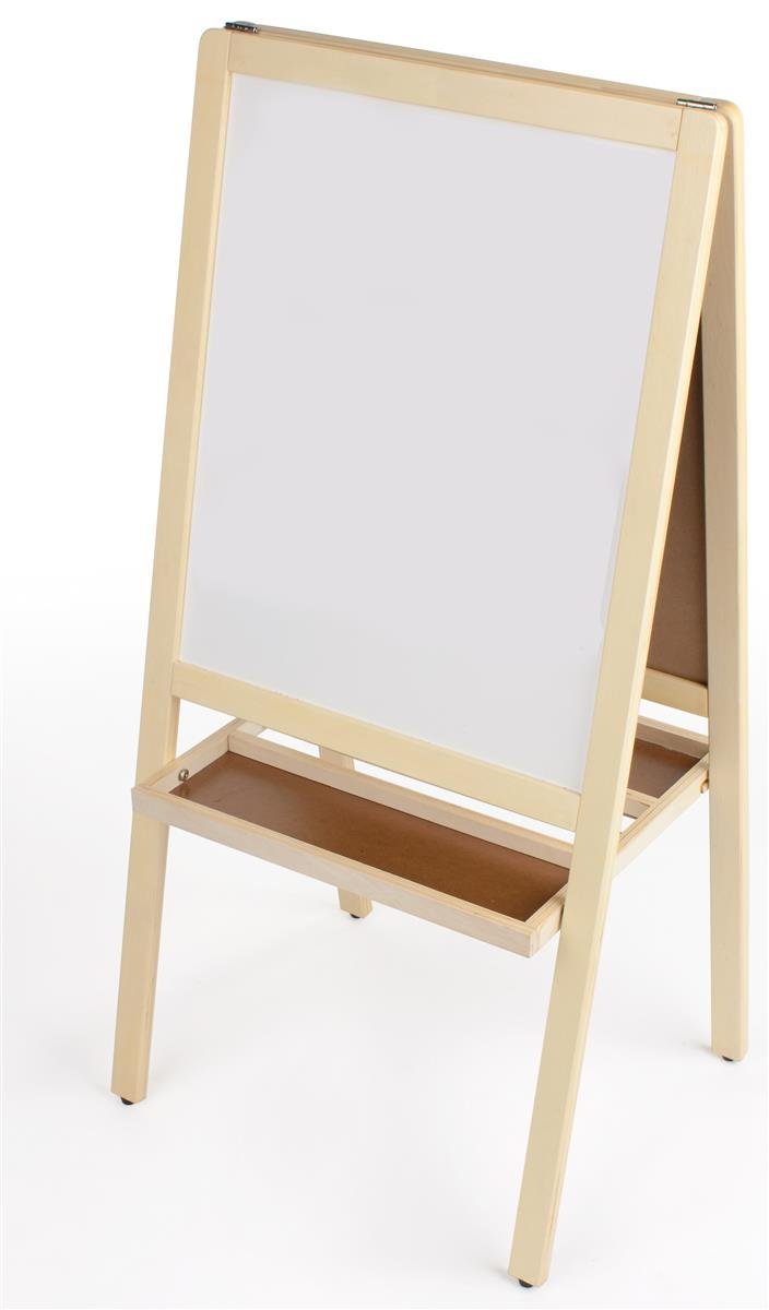 Double Sided Children's Easel, With Magnetic Chalkboard and Dry Erase Board for Kids; with 2 Storage Trays - Natural Solid Wood Frame