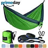 Outdoor Camping Hammock – Portable Anti-fade Nylon Single & Double Hammock with 2 Piece 14 or 16 Loop Straps by FARLAND – Parachute Lightweight Hammock for Hiking Backpacking