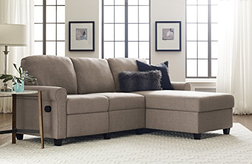 Serta Copenhagen Reclining Sectional with Right Storage Chaise - Beige (Sofas Sectional Small)